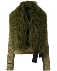 David Koma | Quilted Jacket With Lamb Fur Collar | Lyst