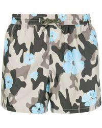 NOS Beachwear - Camouflage And Flower Print Swim Shorts - Lyst