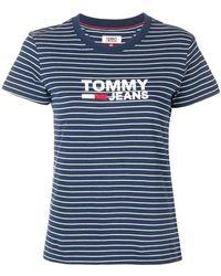 71a2f6ae4d59 Lyst - Tommy Hilfiger Cropped Logo T-shirt in Blue