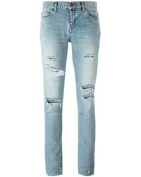 Saint Laurent - Skinny Distressed Jeans - Lyst
