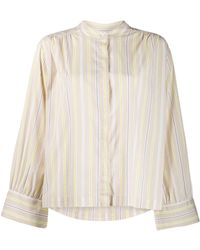Closed - Collarless Striped Shirt - Lyst