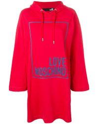 Love Moschino - Embossed Logo Hooded Dress - Lyst
