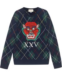 Gucci - Argyle Wool Sweater With Appliqués - Lyst