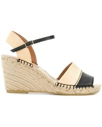 Emporio Armani - Woven Wedge Logo Sandals - Lyst