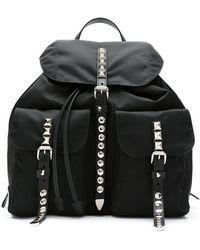 Prada - Black Stud Embellished Nylon Backpack - Lyst