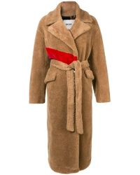 Bazar Deluxe - Faux Fur Belted Coat - Lyst