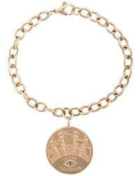 Marlo Laz - 14kt Gold Talisman Diamond & Emerald Coin Bracelet - Lyst