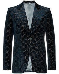 Gucci - Logo Jacquard Cotton Blend Velvet Blazer - Lyst