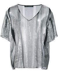 Sally Lapointe - Sequinned V-neck Blouse - Lyst