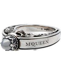 Alexander McQueen - Metallic Silver Engraved Skull Ring - Lyst