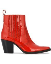Ganni - Callie Patent Leather Ankle Boots - Lyst