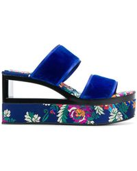 Casadei | Velvet Wedge Sandals | Lyst