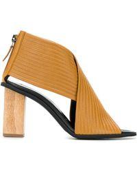 84b78b2f771 Saint Laurent Tribute Wooden Heel Sandal in Black - Lyst