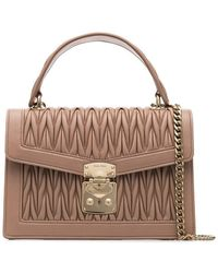 eb339f1c1ec Miu Miu - Nude Matelasse Top Handle Quilted Leather Shoulder Bag - Lyst