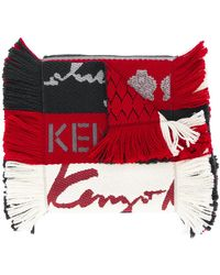 KENZO - Fringed Striped Scarf - Lyst