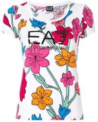 EA7 - Floral Scoop T-shirt - Lyst