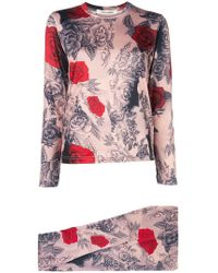 Comme des Garçons - Rose Print T-shirt And leggings Set - Lyst