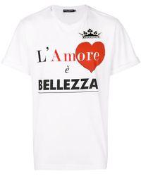 "Dolce & Gabbana - T-Shirt mit ""L'Amore È Bellezza""-Print - Lyst"