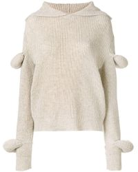 JW Anderson - Rib Knit Hoodie With Puff Sleeves - Lyst