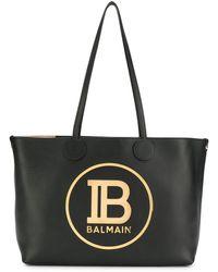 Balmain Borsa tote con placca logo - Nero