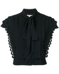 Antonio Berardi - Pussy bow pleat front blouse - Lyst