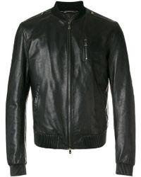 Dolce & Gabbana - Leather Bomber Jacket - Lyst