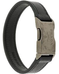 Prada - Saffiano Buckle Bracelet - Lyst