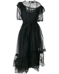 Simone Rocha Woman Lace-trimmed Asymmetric Tulle Mini Dress Black Size 4 Simone Rocha YdNC7