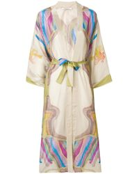 Mes Demoiselles - Printed Belted Waist Kimono Coat - Lyst