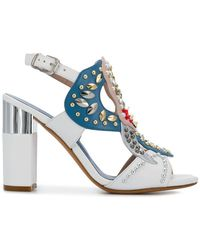 Albano - Embellished Open-toe Court Shoes - Lyst