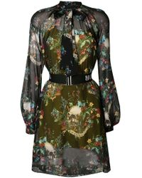 John Richmond - Pussy Bow Floral Print Dress - Lyst