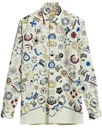 Burberry - Emblem Print Cotton Shirt - Lyst