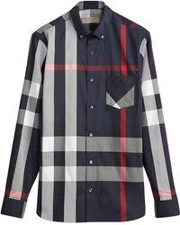 Burberry - Button-down Collar Check Stretch Cotton Blend Shirt - Lyst