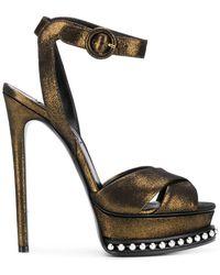 Casadei - Metallic Platform Sandals - Lyst