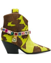 Casadei - Stone Embellished Ankle Boots - Lyst
