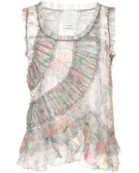 Anna Sui - Sheer Ruched Vest Top - Lyst