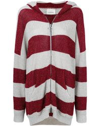 Laneus - Lurex Stripe Hooded Cardigan - Lyst