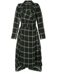 Roland Mouret - Kennedy Belted Checked Cotton-blend Tweed Coat Black - Lyst