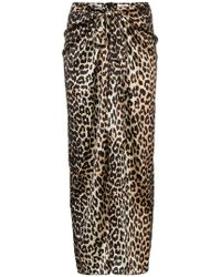Ganni - Calla Silk Leopard Print Skirt - Lyst
