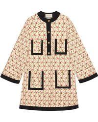 Gucci - Vestido de Punto de Viscosa con Estampado de Rosa - Lyst