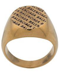 Balenciaga Ring Met Logo - Metallic