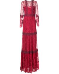 Marchesa notte - Lace Flared Dress - Lyst