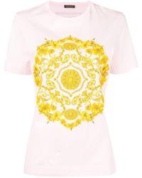 8df2cf3666 Versace - Gold Hibiscus Print T-shirt - Lyst