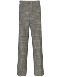 e1d11db1c Gucci - Check Print Tailored Wool Pants - Lyst