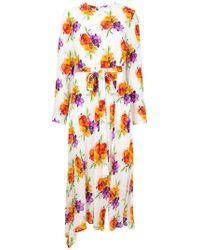 MSGM - Платье С Поясом И Цветочным Принтом - Lyst