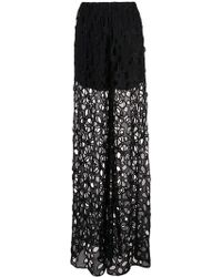 Vera Wang - Embroidered Palazzo Trousers - Lyst