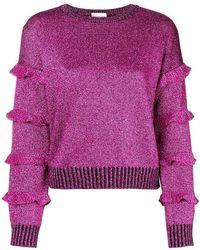 RED Valentino - Round Glitter Ruffle Sleeve Sweatshirt - Lyst