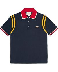 7369d42a7a7 Lyst - Gucci Animalium Cotton Polo in Blue for Men