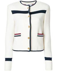 Thom Browne - Wool Knit Crewneck Jacket - Lyst