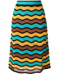 M Missoni - High Waisted Knitted Skirt - Lyst
